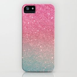 Modern neon pink teal faux glitter ombre patern iPhone Case