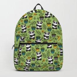 Little Panda Print, Baby Panda, Panda Bear, Boho Panda, Succulents and Flower Backpack