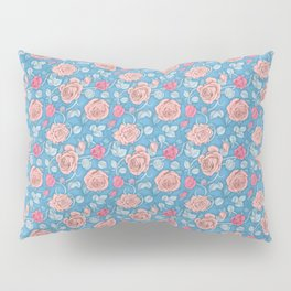 Roses Blue Pink Pillow Sham