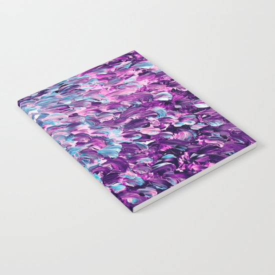 FROSTED FEATHERS 1 Colorful Lavender Purple Lilac Serenity Rose Quartz Ombre Ocean Splash Abstract Notebook