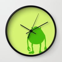 monsters inc Wall Clocks featuring Monsters Inc. Mike by JessicaSzymanski