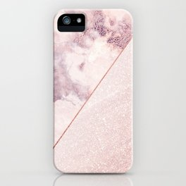 Girly blush pink faux rose gold marble glitter iPhone Case