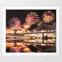 new york city with fireworks Art Print