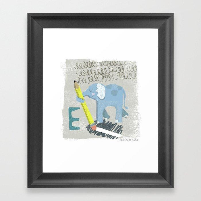"""""""E"""" Framed Art Print"""