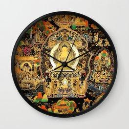 Buddha Life Autumn Gold Thangka Wall Clock