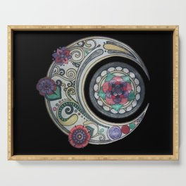 Spiral floral moon Serving Tray