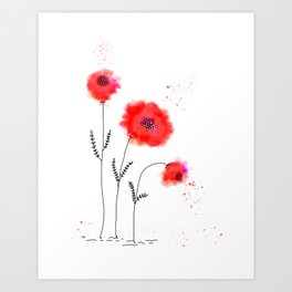 Poppy Flowers Abstract  Art Print