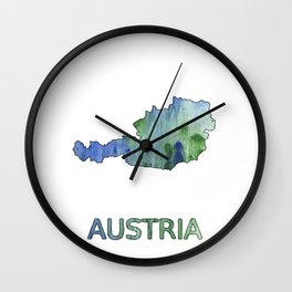 Austria map outline Blue-green watercolor painting Wall Clock