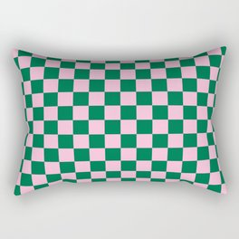 Cotton Candy Pink and Cadmium Green Checkerboard Rectangular Pillow