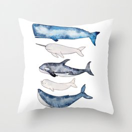 Watercolor orca whale, spermwhale, humpback, narwhal, beluga whales Throw Pillow