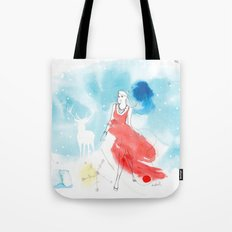 Christmas girl in the snow Tote Bag