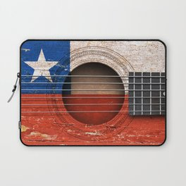 Old Vintage Acoustic Guitar with Chilean Flag Laptop Sleeve