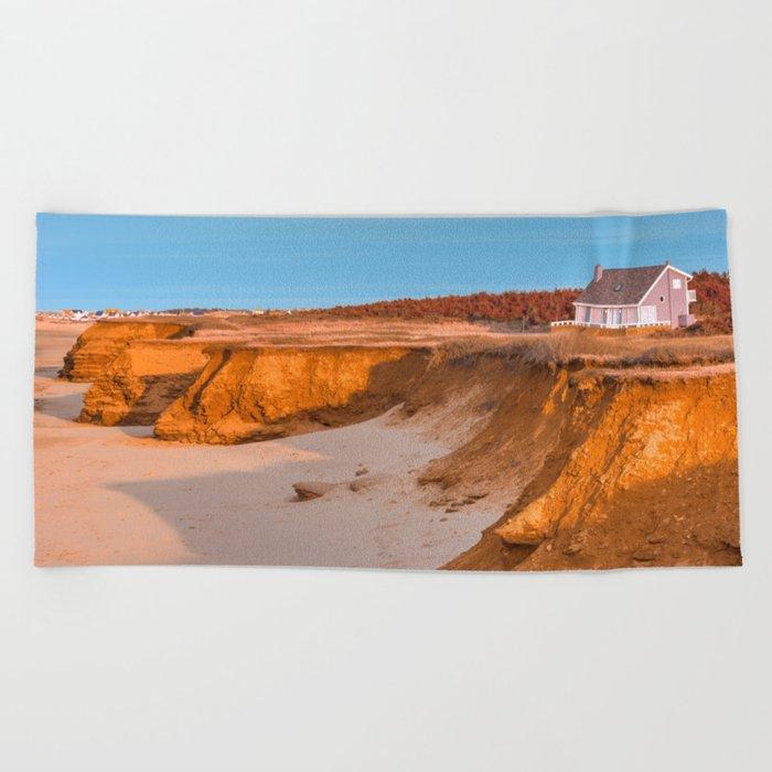 Thunder Cove Beach Cliffs - Golden Pastel Hour Beach Towel