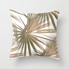 Brown on White Tropical Vibes Beach Palmtree Vector Throw Pillow