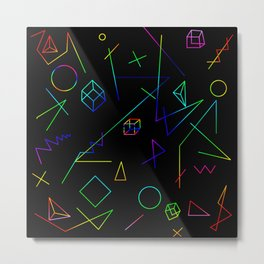 Neon Geometry Metal Print