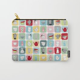 Retro Coffee Pots and Cups Pattern Carry-All Pouch