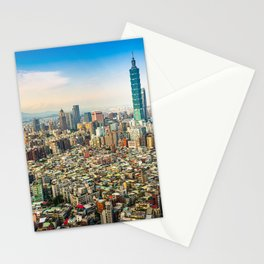 Aerial view and cityscape of Taipei, Taiwan Stationery Cards