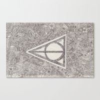 deathly hallows Canvas Prints featuring deathly hallows by Clara Lucie P