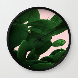 Cactus On Pink Wall Clock