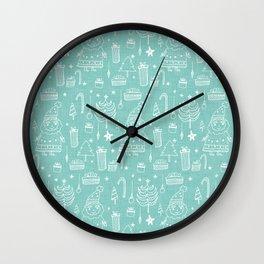 Santa Workshop Blue Wall Clock