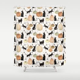 Black Cats Pumpkin Patch Fall Halloween Pattern Shower Curtain