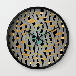 Wavy Mosaic Organic Weave Abstract Wall Clock