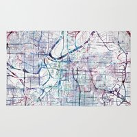 kansas city Area & Throw Rugs featuring Kansas city map by MapMapMaps.Watercolors
