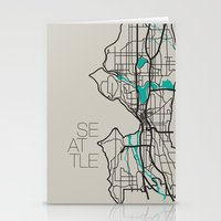 seattle Stationery Cards featuring Seattle by linnydrez