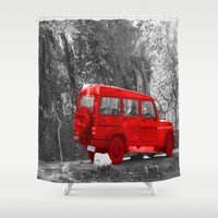 jeep Shower Curtains featuring Red Car by Four Hands Art