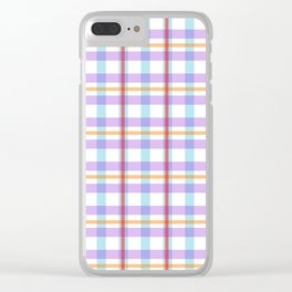 Gridlines of purple, blue and red on white Clear iPhone Case