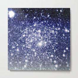 Deep Blue Silver Gray Galaxy Sparkle Ombre Metal Print
