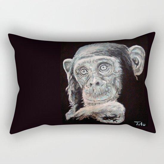 a Jane Goodall quote - black Rectangular Pillow