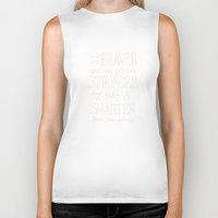 """winnie the pooh Biker Tanks featuring Winnie the Pooh quote """"You are BRAVER""""  by SimpleSerene"""