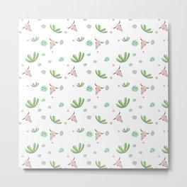 Trendy green pink bohemian skull cactus floral Metal Print