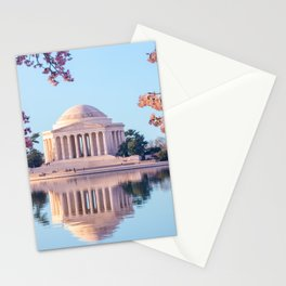 Cherry Blossoms at Jefferson Memorial in Washington DC Stationery Cards