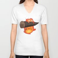 calcifer V-neck T-shirts featuring Calcifer by Oujo