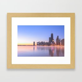 Chicago Frozen Sunrise Framed Art Print