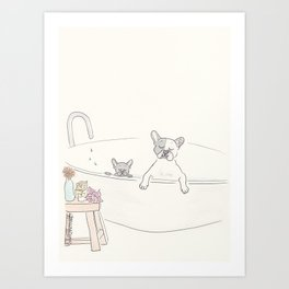 French Bulldogs Bath Time Art Print