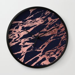 Rose Gold Navy Blue Modern Chic Marble Pattern Wall Clock