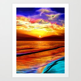 Sunset in Liverpool Bay Art Print