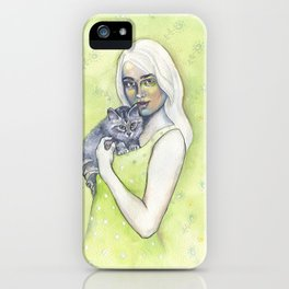Girl with cat - by Fanitsa Petrou iPhone Case