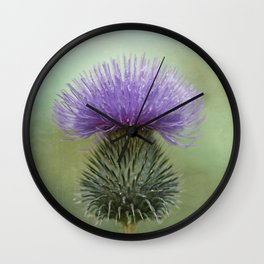 Lavender and Sage Green Thistle Wall Clock