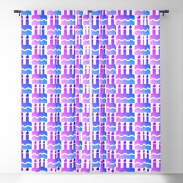 Purple pink blue happy birthday cake print Blackout Curtain