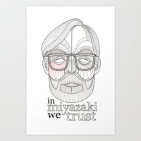 hayao miyazaki Art Prints featuring Hayao Miyazaki portrait by Felip Ariza Montobbio