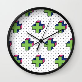 Plus Background in Neo Memphis Style Colorful Decorative pattern Wall Clock