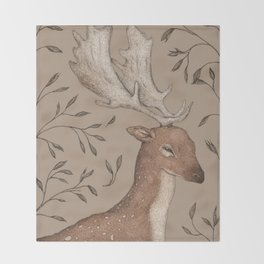 The Fallow Deer and Oats Throw Blanket