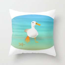 The Paddling Duck at the Se Throw Pillow