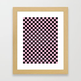 Black and Cotton Candy Pink Checkerboard Framed Art Print