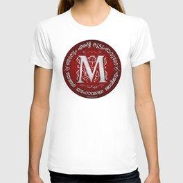Joshua 24:15 - (Silver on Red) Monogram M T-shirt