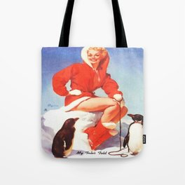 Pin up Girl Winter Fun With Penguins Gil Elvgren Tote Bag